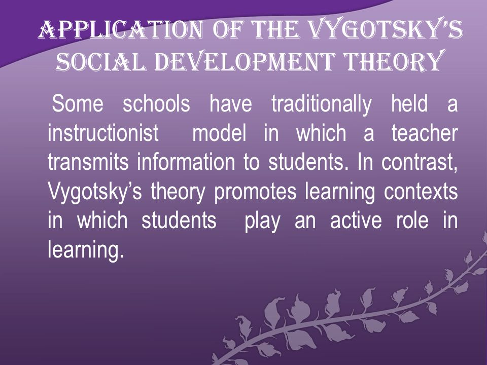 Application of the Vygotsky's Social Development Theory