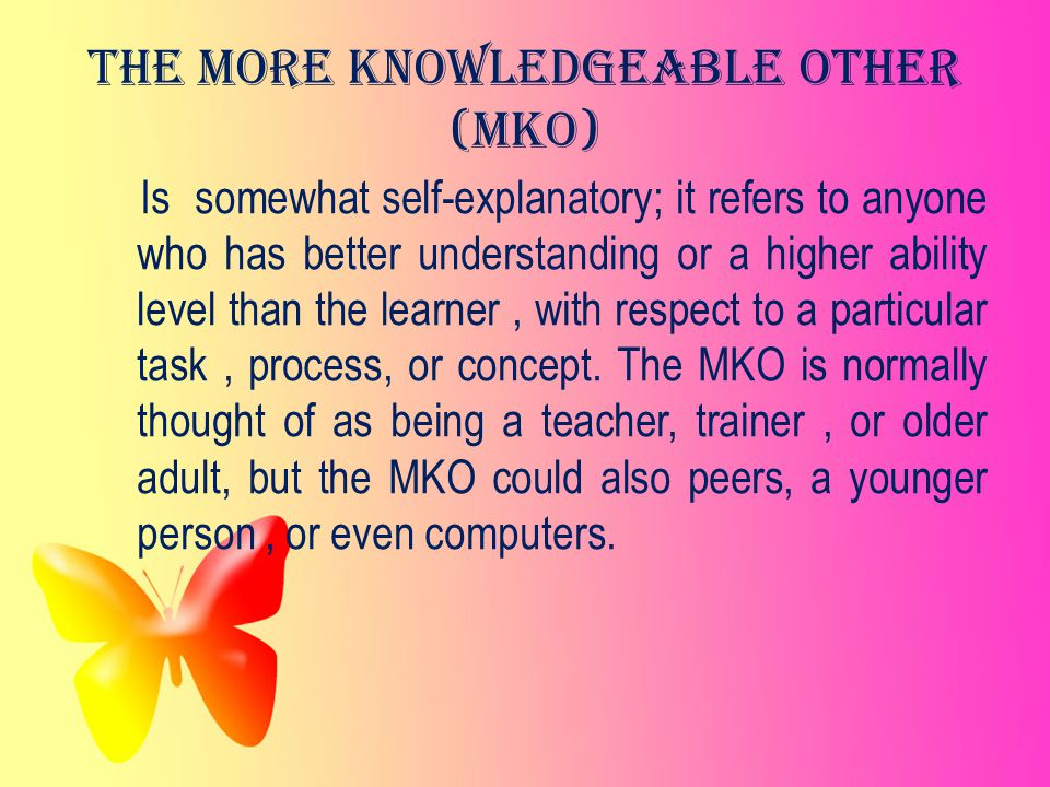 The More Knowledgeable Other (MKO)