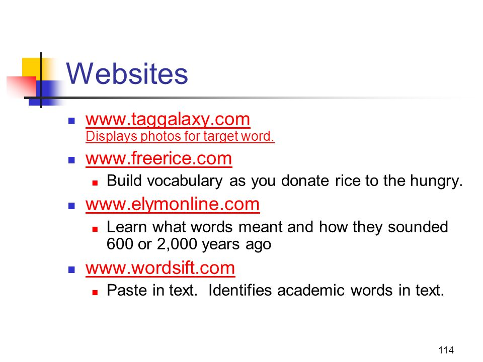 Websites www.taggalaxy.com Displays photos for target word.