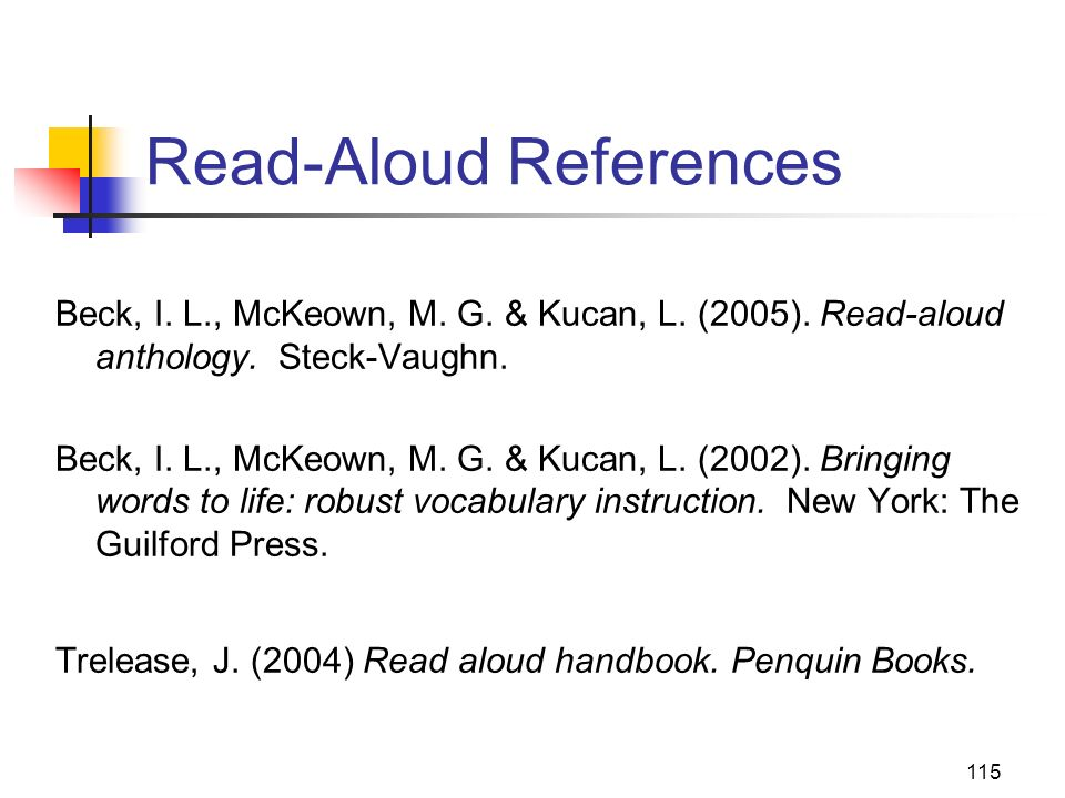 Read-Aloud References