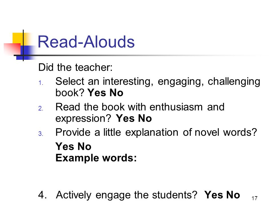 Read-Alouds Did the teacher: