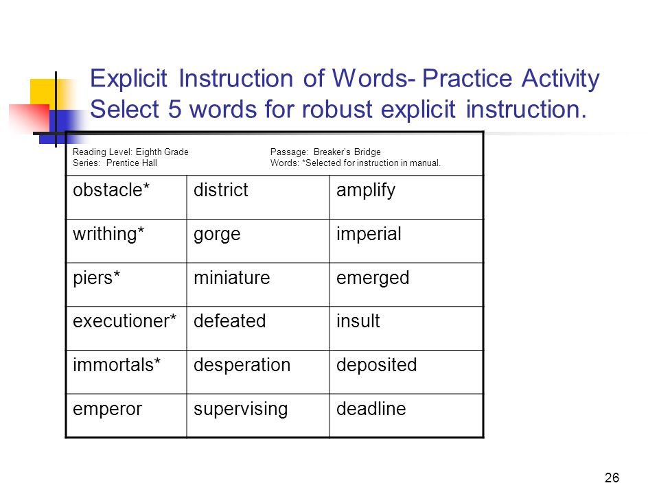 Explicit Instruction of Words- Practice Activity Select 5 words for robust explicit instruction.