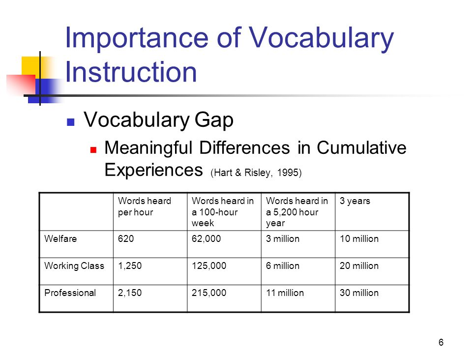 Importance of Vocabulary Instruction