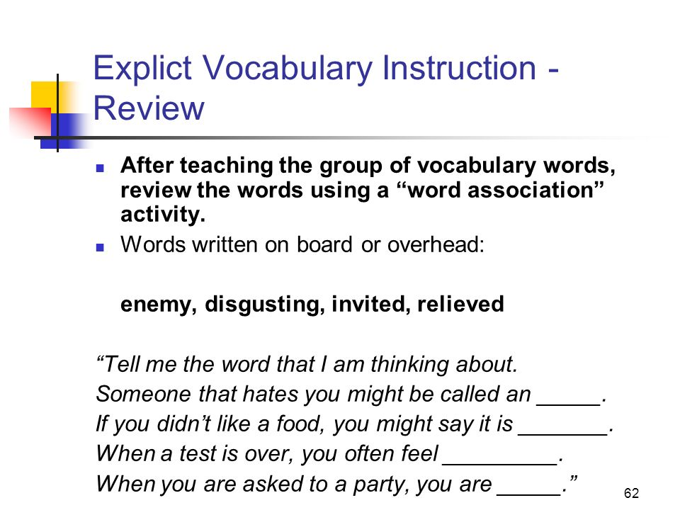Explict Vocabulary Instruction - Review