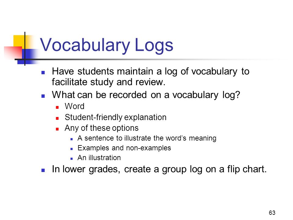 Vocabulary Logs Have students maintain a log of vocabulary to facilitate study and review. What can be recorded on a vocabulary log