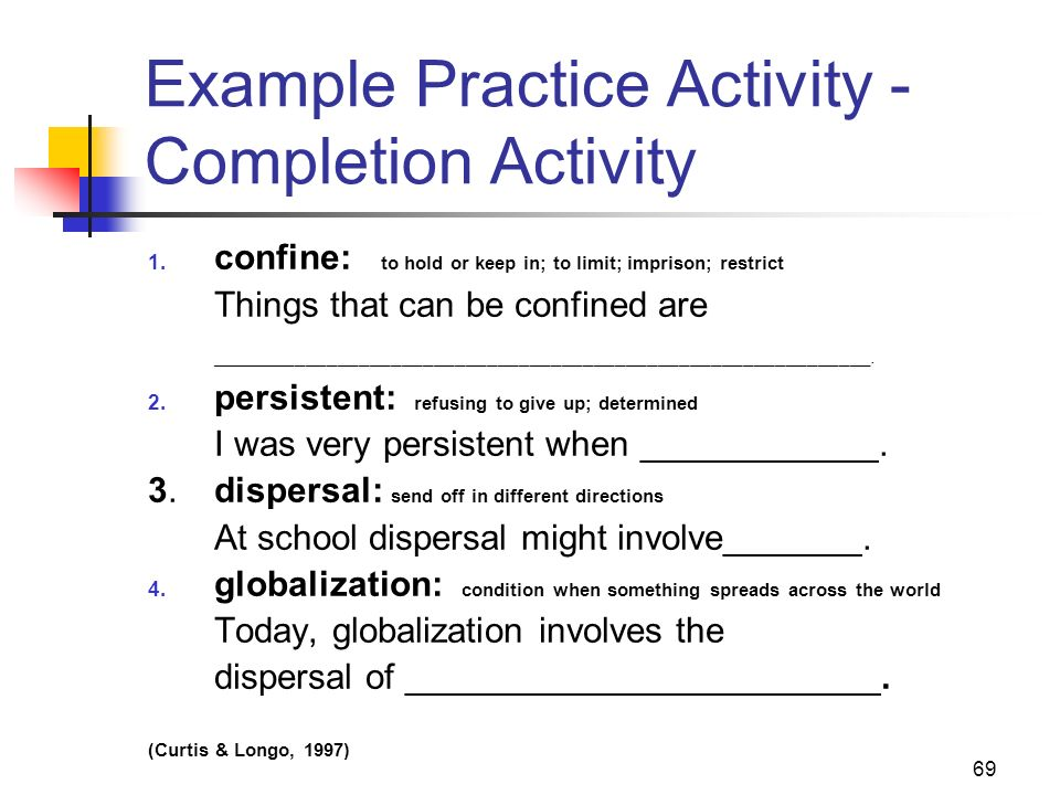 Example Practice Activity - Completion Activity