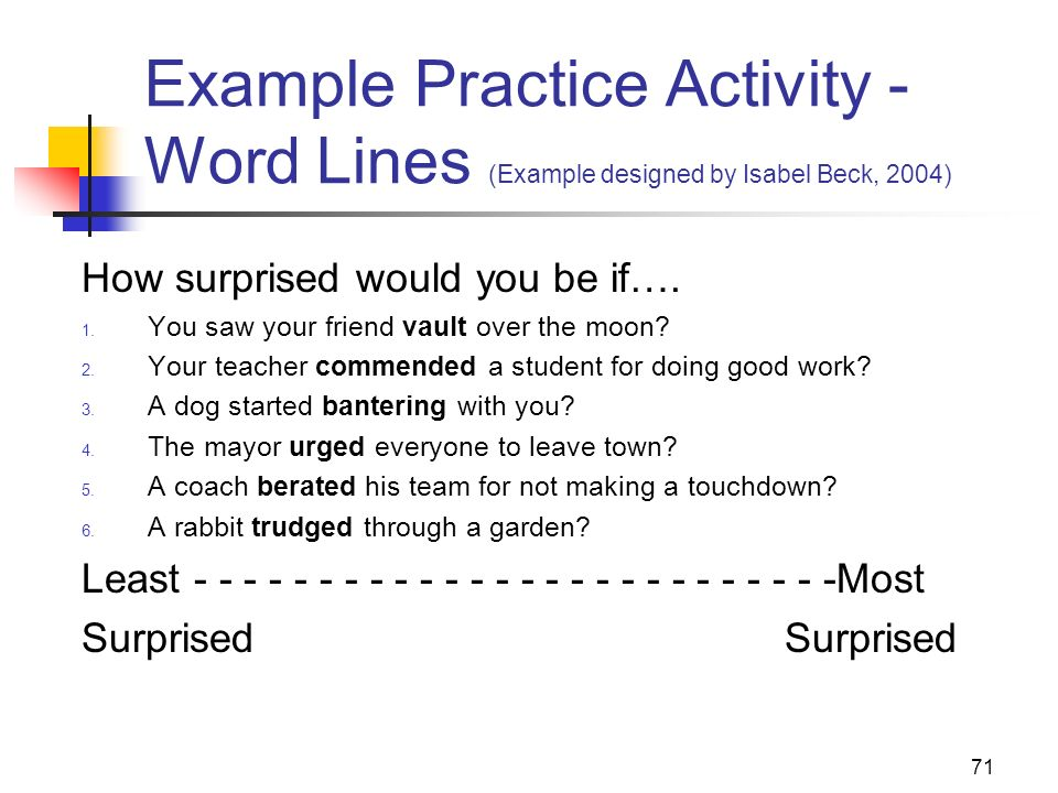 Example Practice Activity - Word Lines (Example designed by Isabel Beck, 2004)
