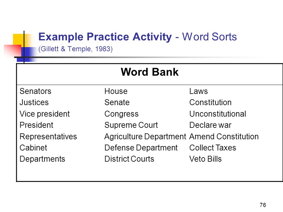 Example Practice Activity - Word Sorts (Gillett & Temple, 1983)