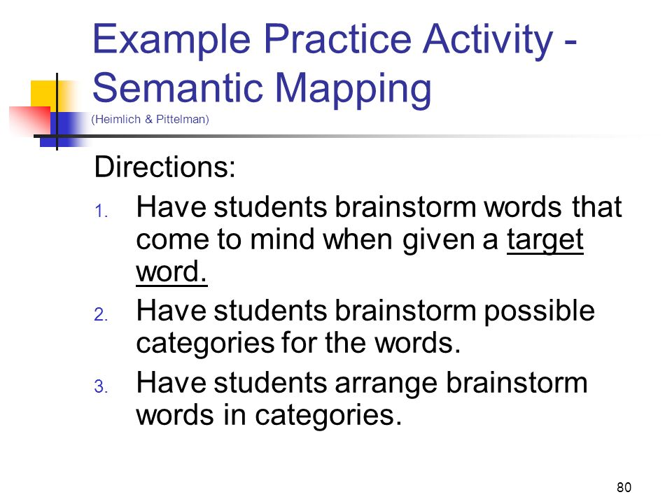 Example Practice Activity - Semantic Mapping (Heimlich & Pittelman)