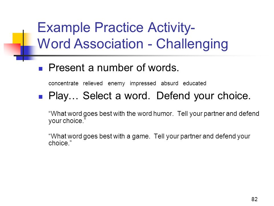 Example Practice Activity- Word Association - Challenging