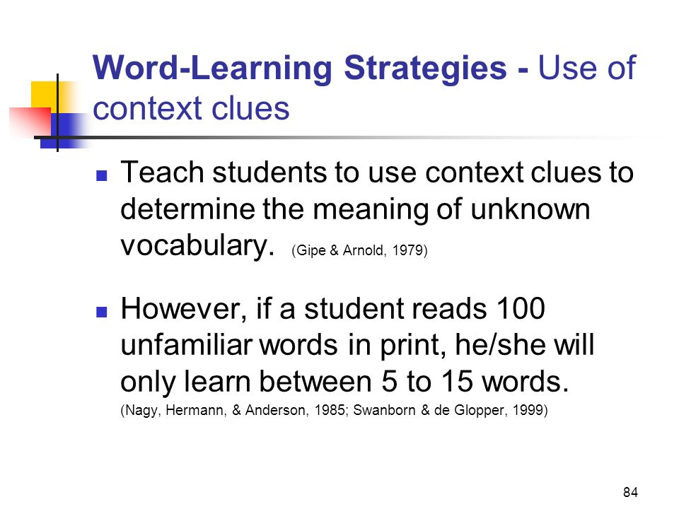 Word-Learning Strategies - Use of context clues