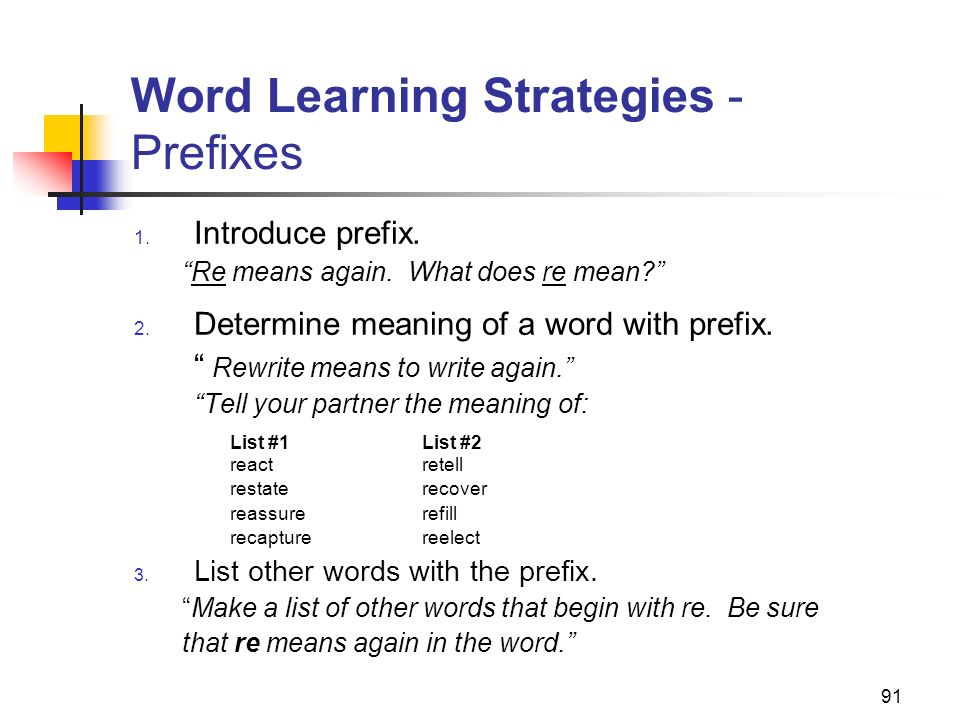 Word Learning Strategies - Prefixes