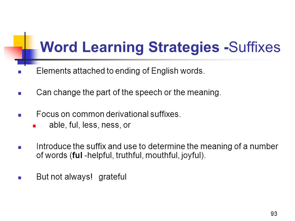 Word Learning Strategies -Suffixes