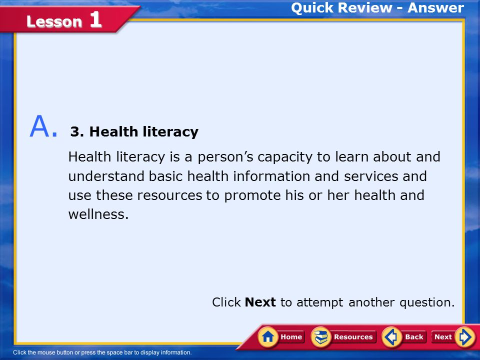 A. 3. Health literacy Quick Review - Answer