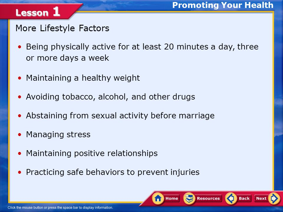 More Lifestyle Factors