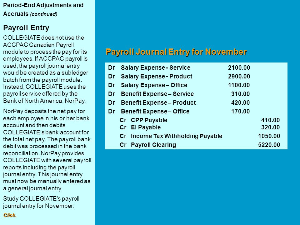 Payroll Journal Entry for November