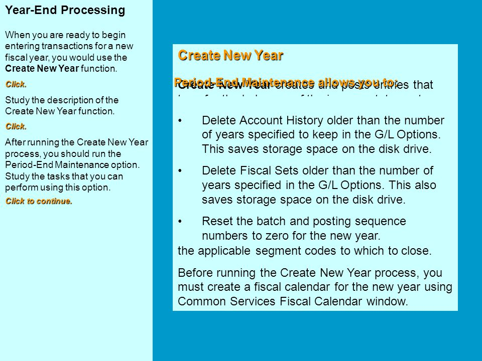 Create New Year Year-End Processing