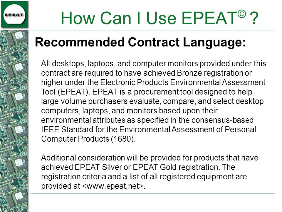 How Can I Use EPEAT© Recommended Contract Language: