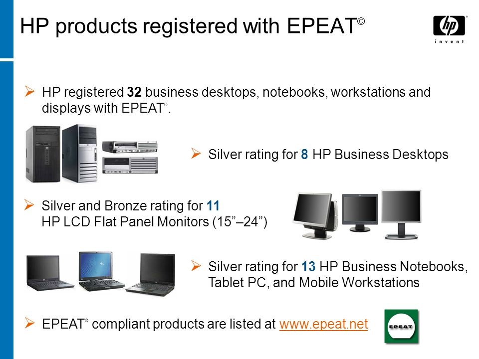 HP products registered with EPEAT©