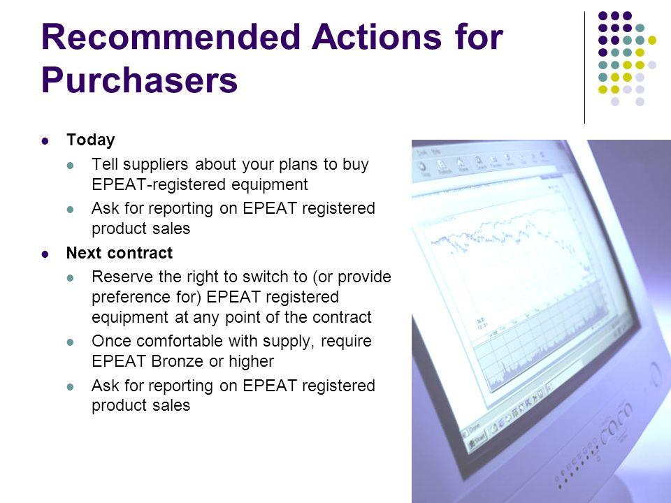 Recommended Actions for Purchasers
