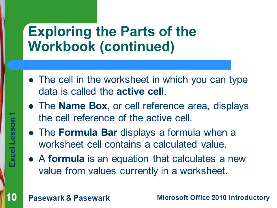 Exploring the Parts of the Workbook (continued)
