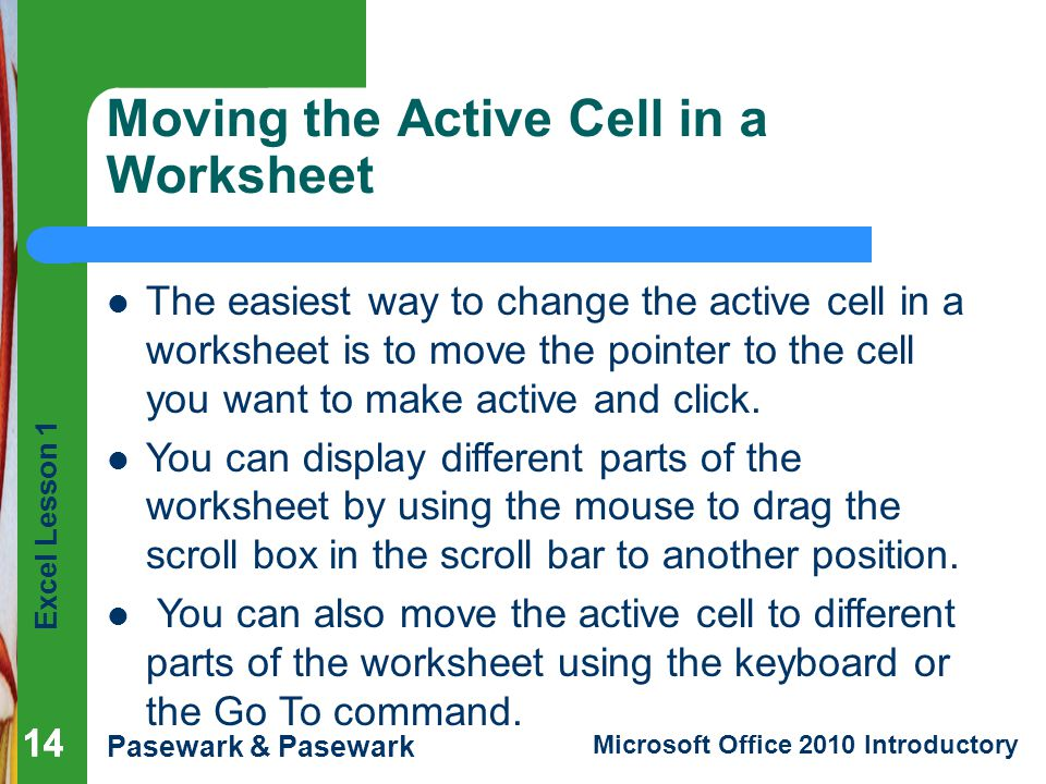 Moving the Active Cell in a Worksheet