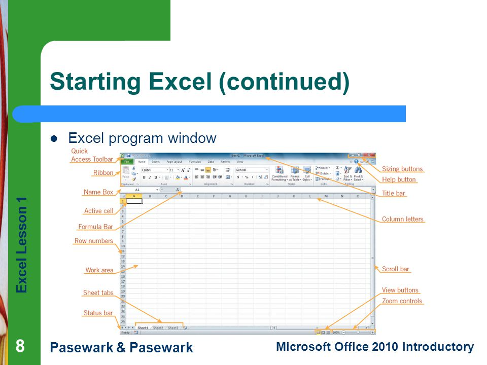 Starting Excel (continued)