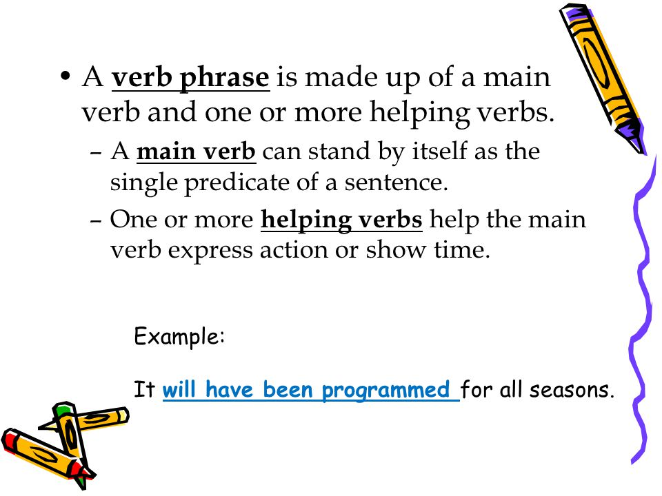 A verb phrase is made up of a main verb and one or more helping verbs.
