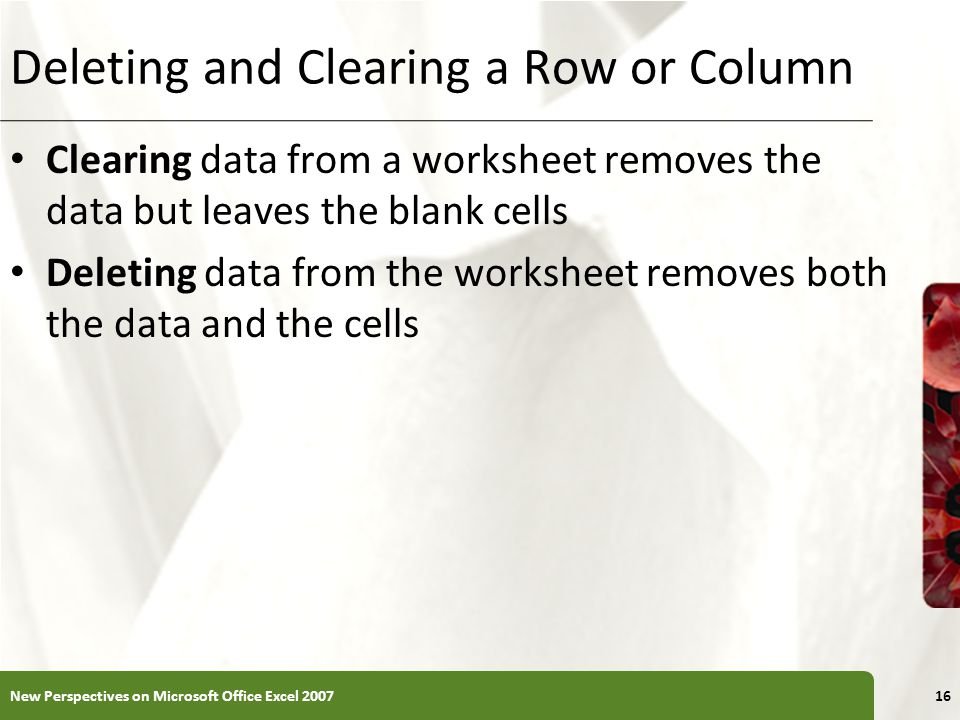 Deleting and Clearing a Row or Column