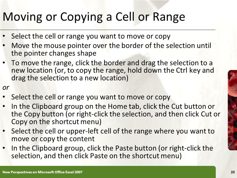 Moving or Copying a Cell or Range