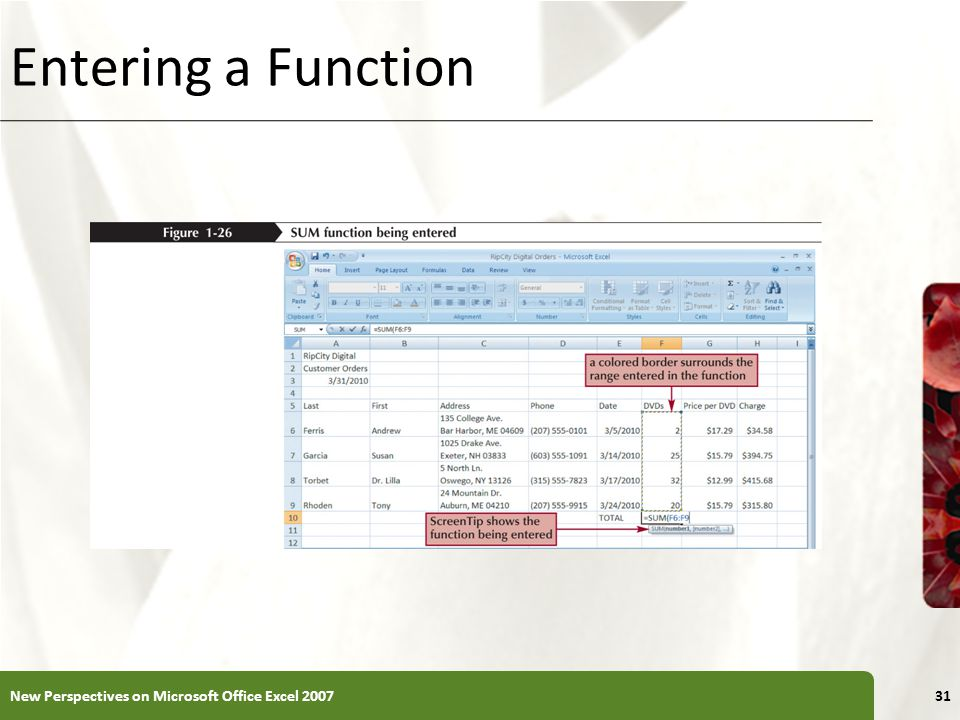 Entering a Function New Perspectives on Microsoft Office Excel 2007