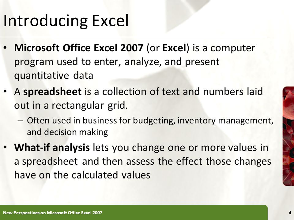 Introducing Excel Microsoft Office Excel 2007 (or Excel) is a computer program used to enter, analyze, and present quantitative data.