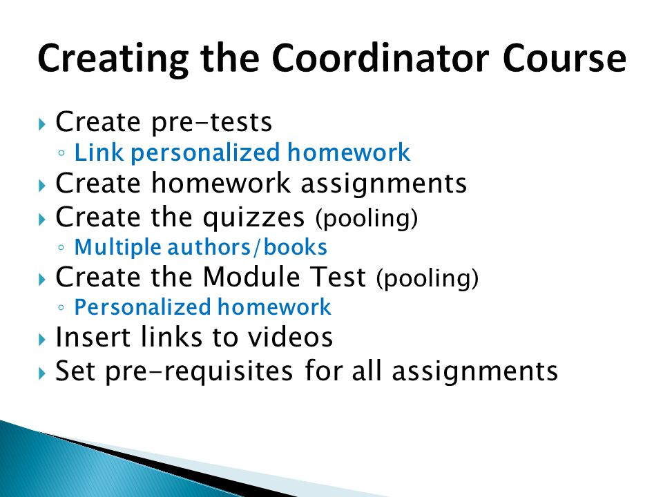 Creating the Coordinator Course