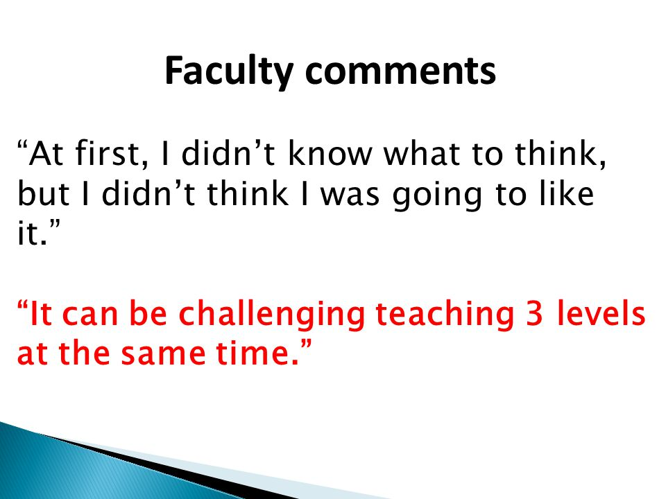 Faculty comments At first, I didn't know what to think, but I didn't think I was going to like it.