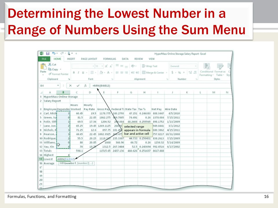 Determining the Lowest Number in a Range of Numbers Using the Sum Menu