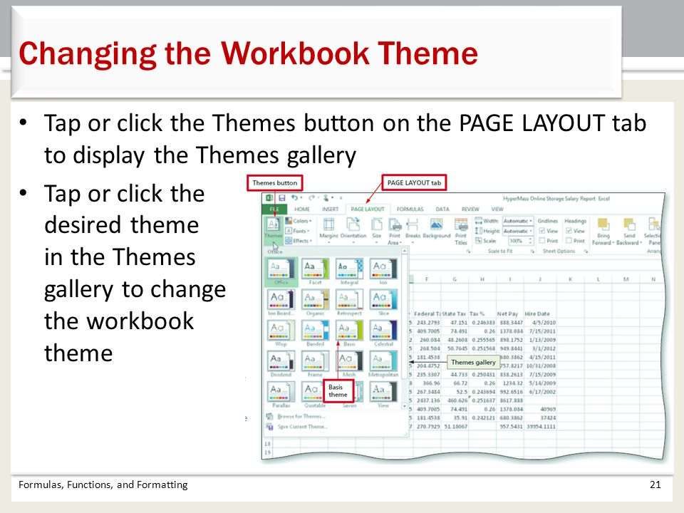 Changing the Workbook Theme