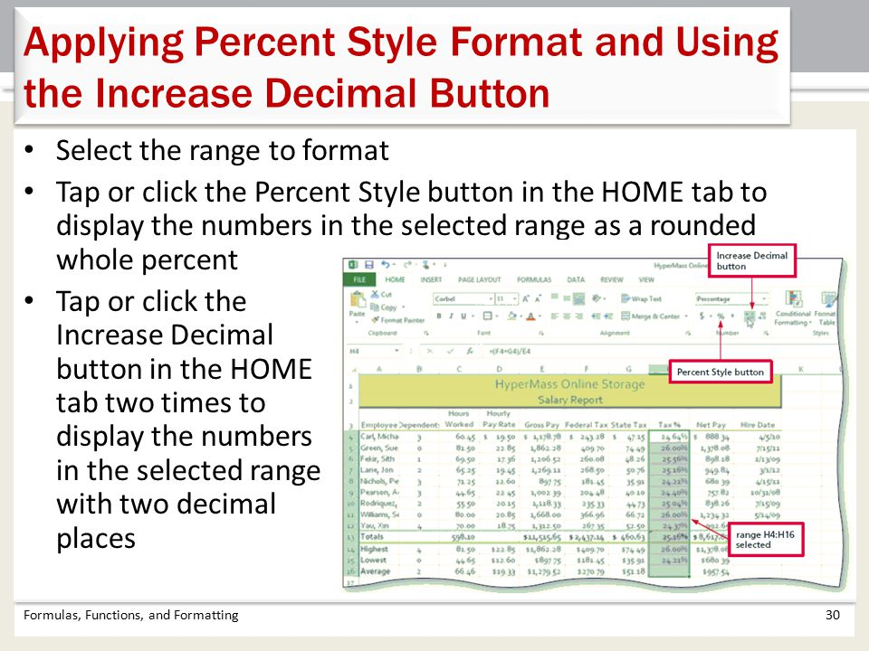 Applying Percent Style Format and Using the Increase Decimal Button