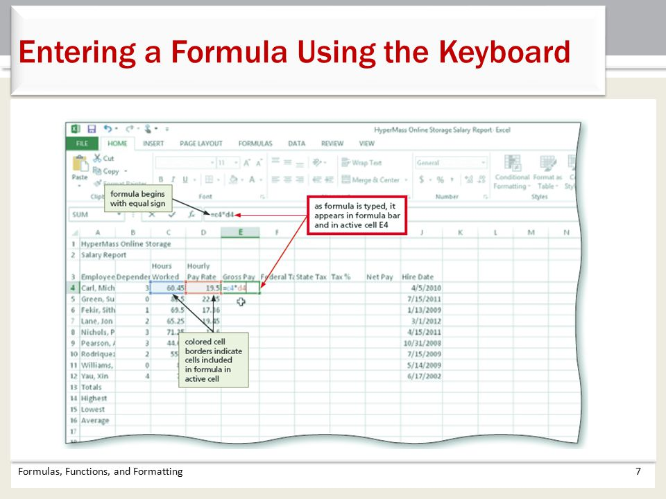 Entering a Formula Using the Keyboard