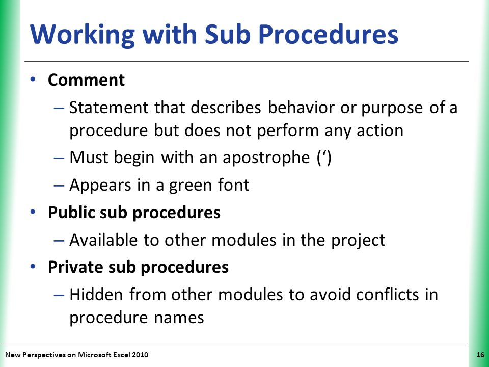 Working with Sub Procedures