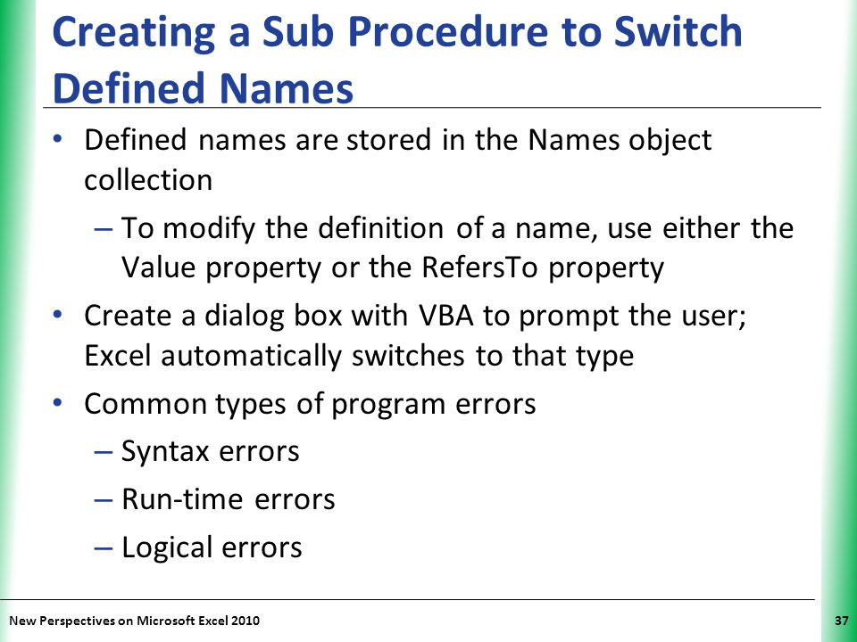 Creating a Sub Procedure to Switch Defined Names
