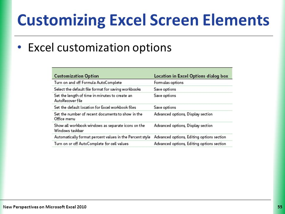 Customizing Excel Screen Elements