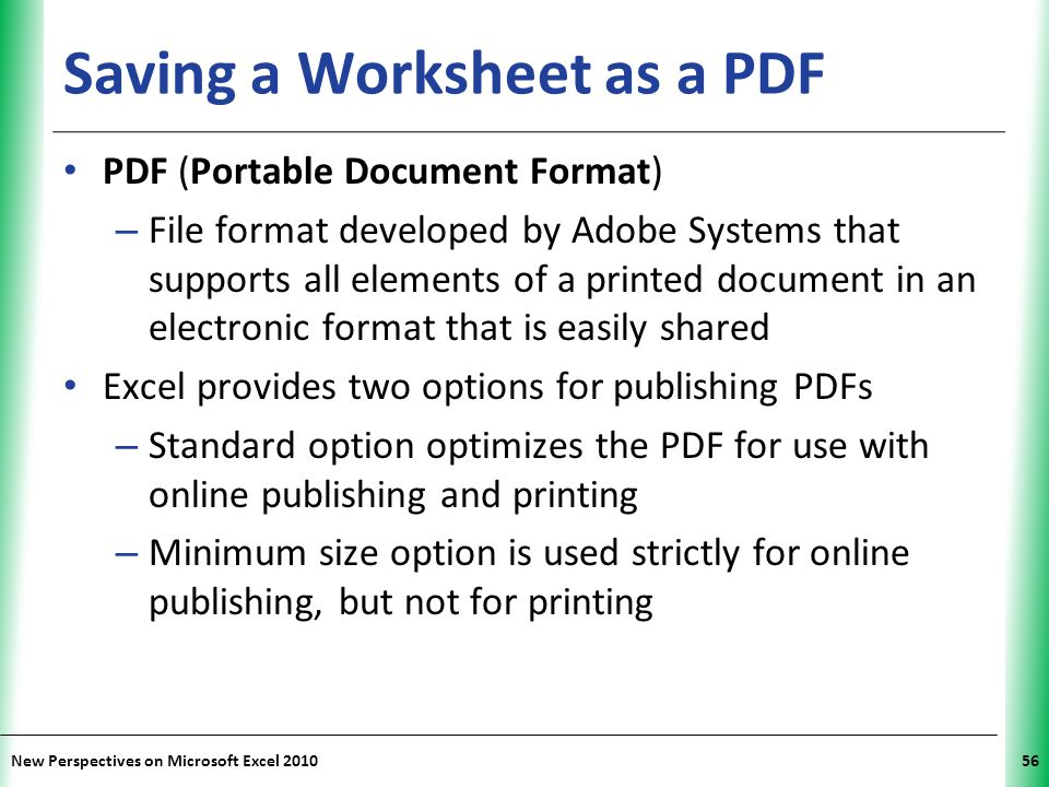 Saving a Worksheet as a PDF