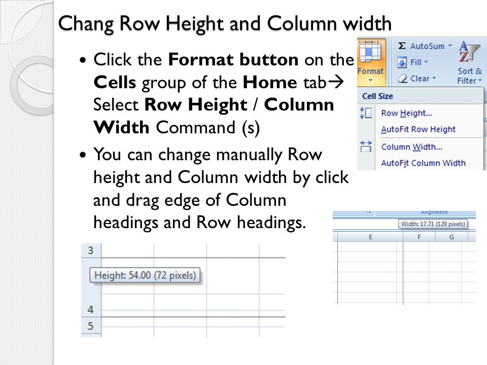Chang Row Height and Column width