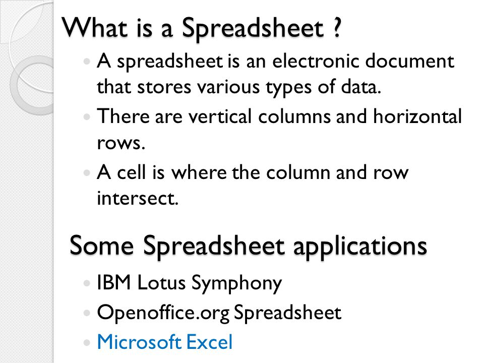 Some Spreadsheet applications