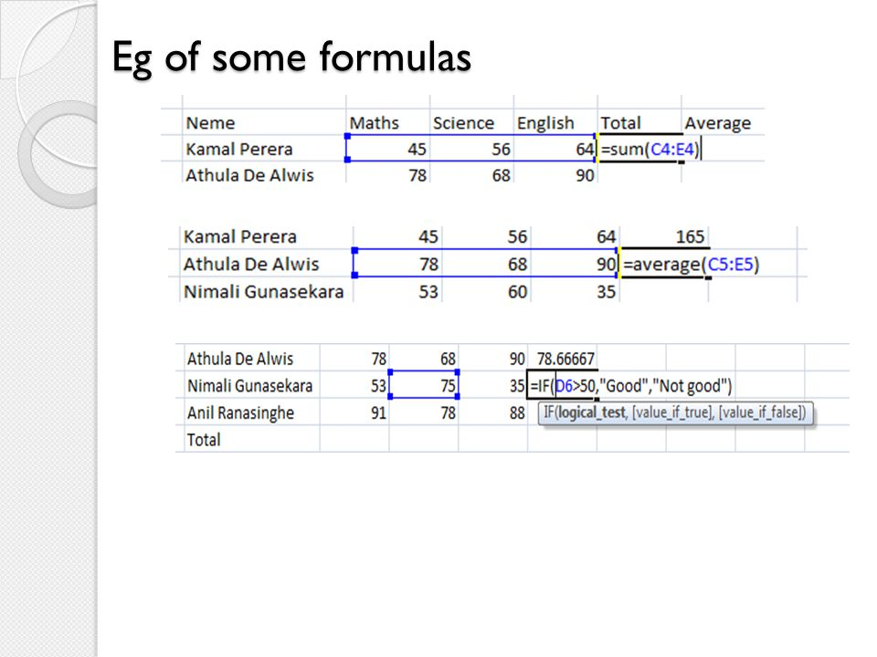 Eg of some formulas