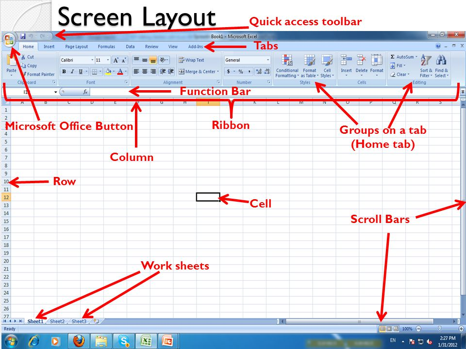 Screen Layout Quick access toolbar Tabs Function Bar