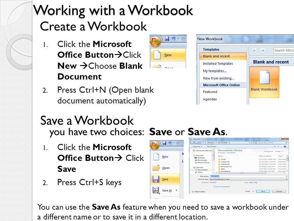 Working with a Workbook