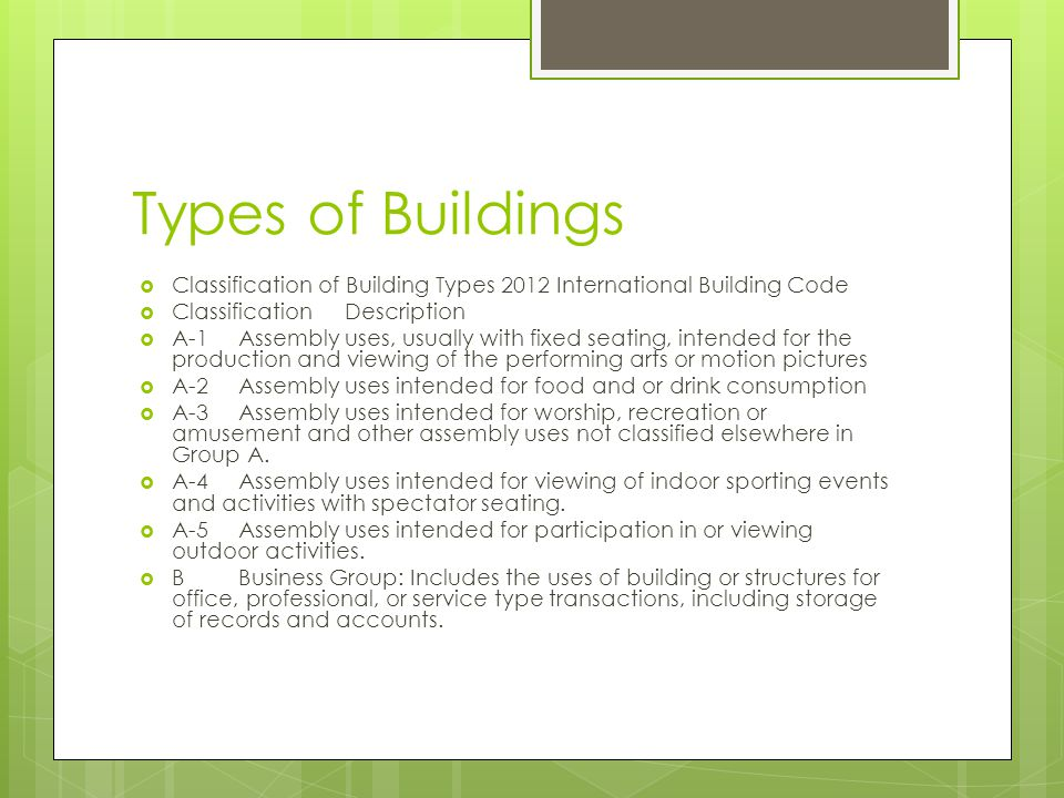 Types of Buildings Classification of Building Types 2012 International Building Code. Classification Description.