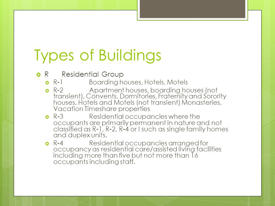 Types of Buildings R Residential Group
