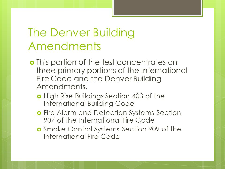 The Denver Building Amendments